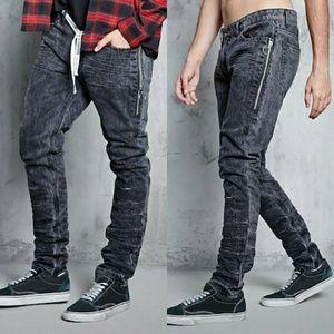 Forever21 Men Pull Ring Crinkled Jeans Slim Grey